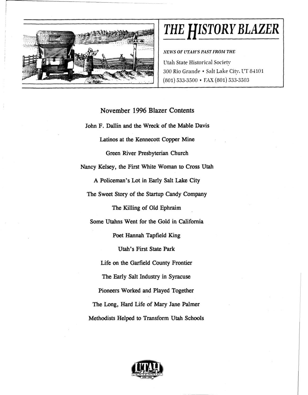 The History Blazer, November 1996 by Utah State History - issuu