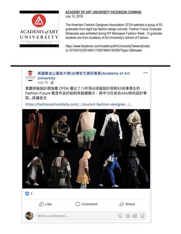 07 15 2018 Academy Of Art University Facebook Taiwan By Academy Of Art University School Of Fashion Issuu