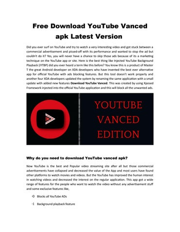 Free Download YouTube Vanced apk Latest Version by Matilda