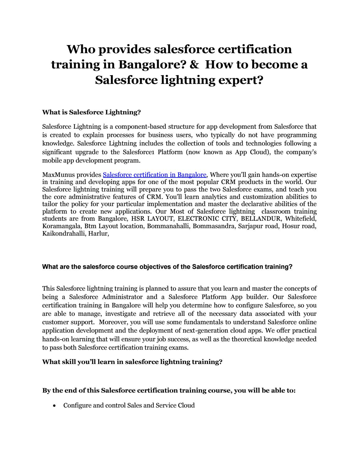Who provides salesforce certification training in Bangalore