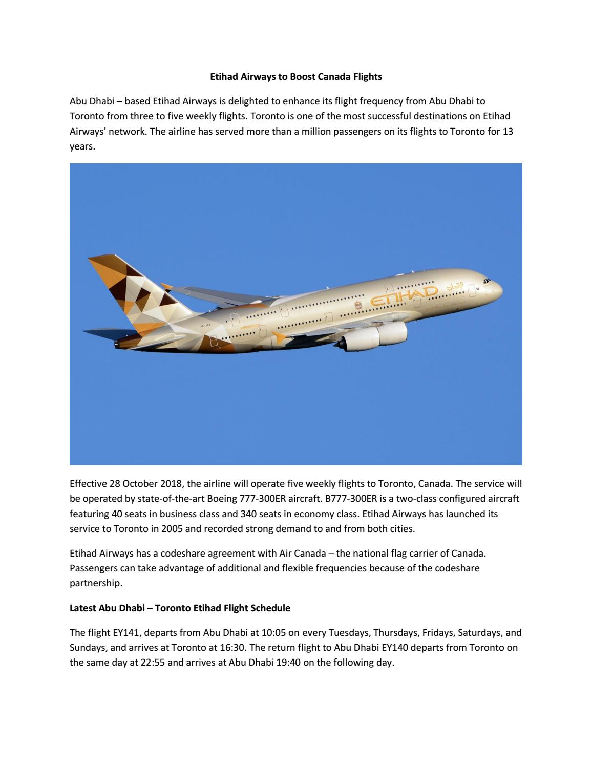Etihad Airways to Boost Canada Flights by Rishad Ahmed MD