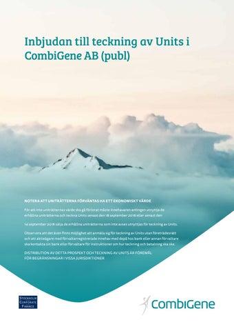 Inbjudan till teckning av Units i CombiGene AB (publ) by ... 316c97004b14f