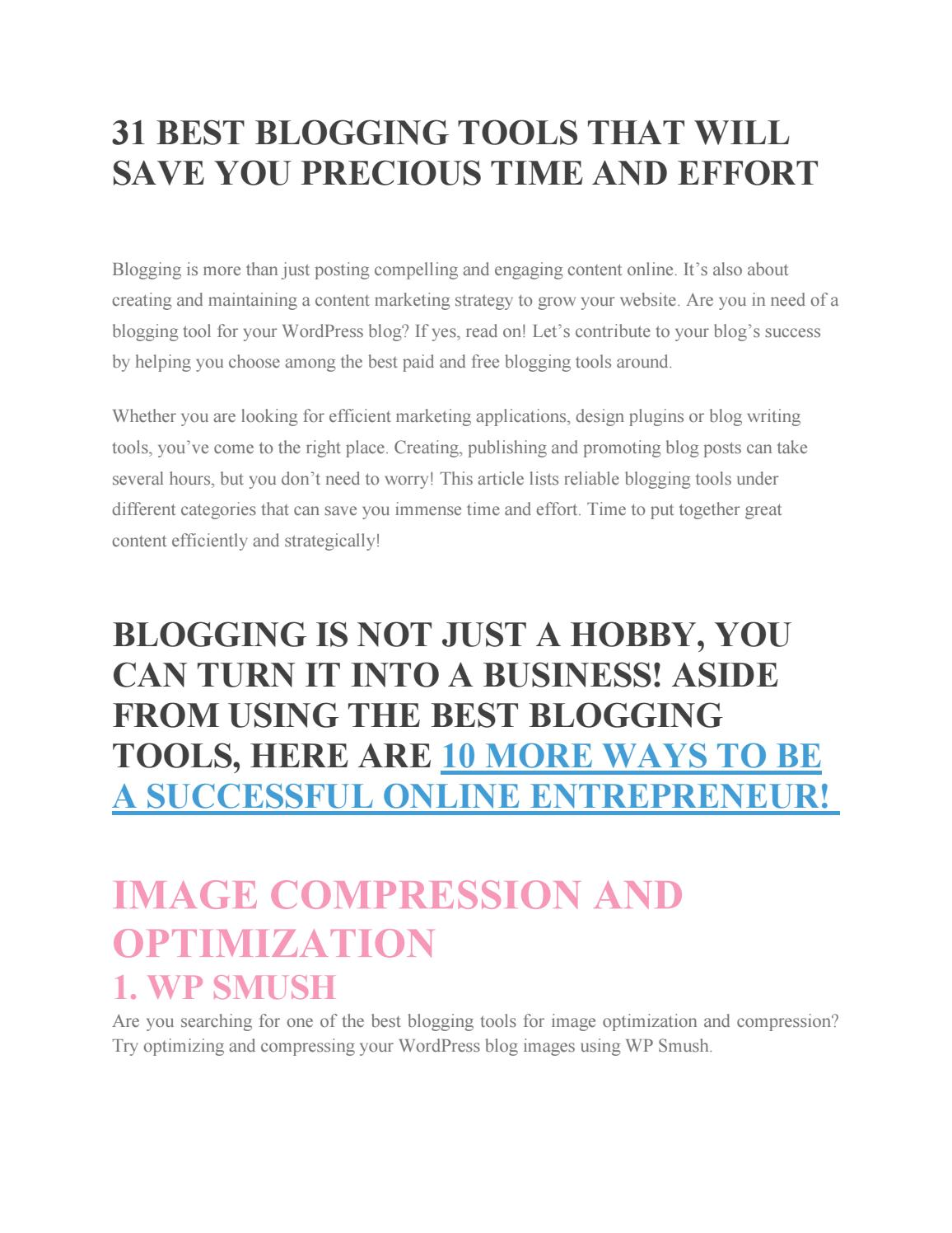 31 Best Blogging Tools that will Save Your Precious Time and