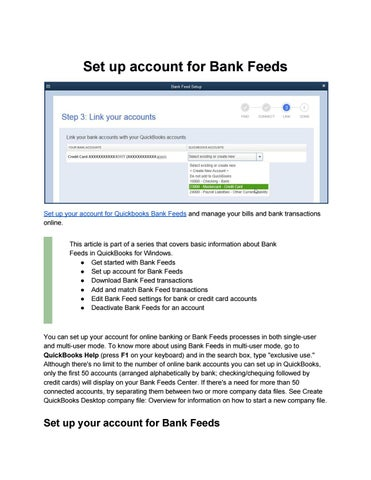 Set up account for Bank Feeds - Get Start with Bank Feeds