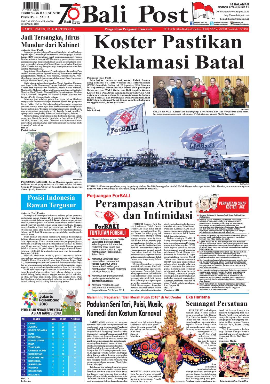 Edisi Sabtu 25 Agustus 2018 Balipost Com By E Paper Kmb Issuu