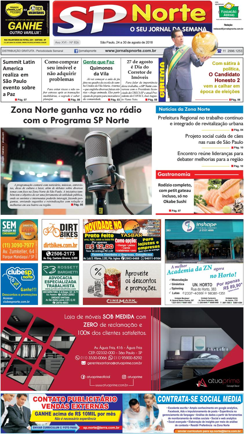 a73337de4f Edição 826 - de 24 a 30 de agosto de 2018 by Jornal SP Norte - issuu