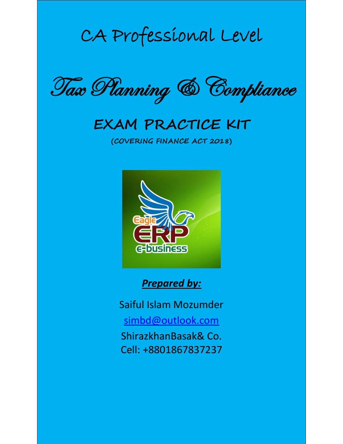 Draft Exam Practice Kit for CA Professional Level Tax