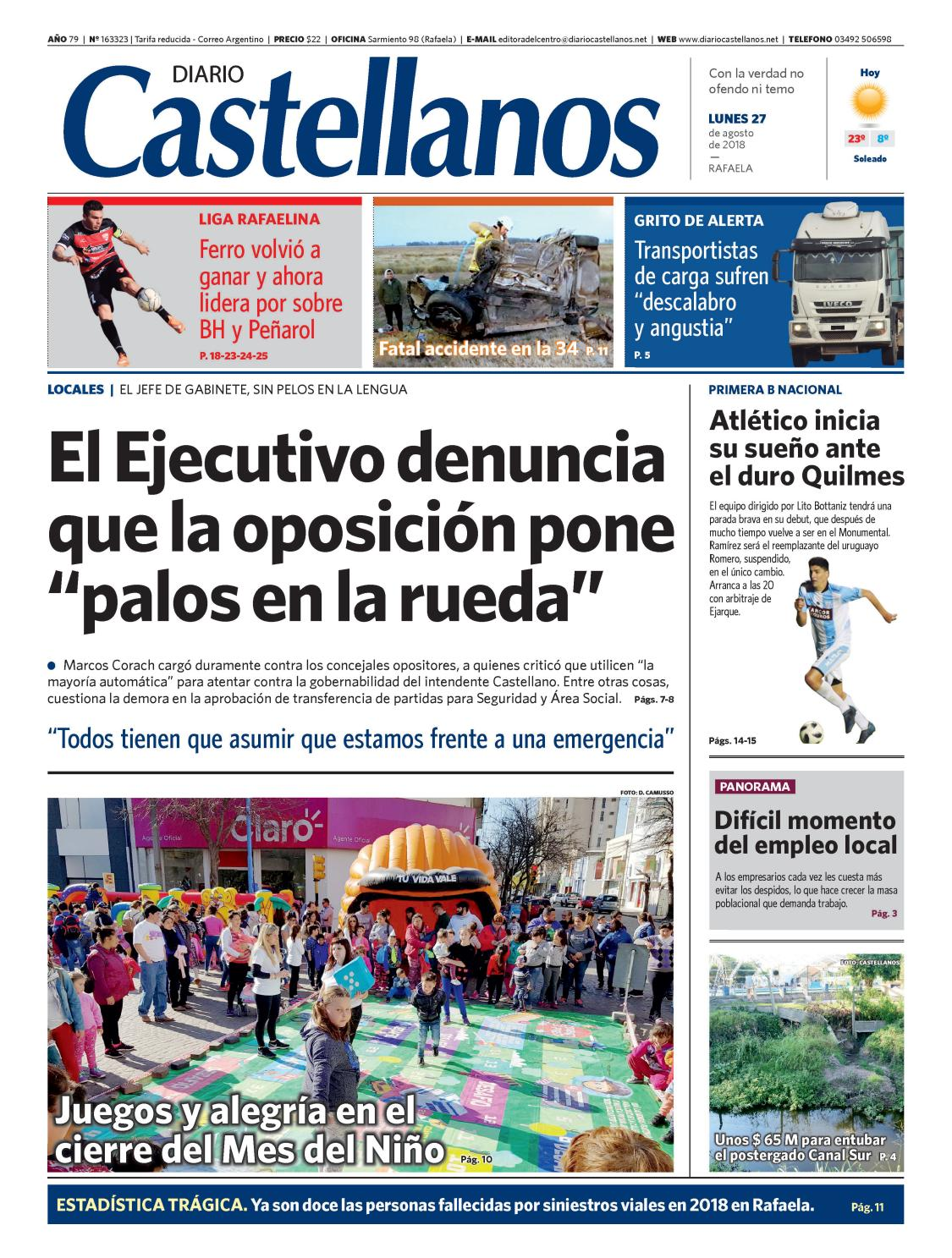 Diario Castellanos 27 08 18 by Diario Castellanos - issuu