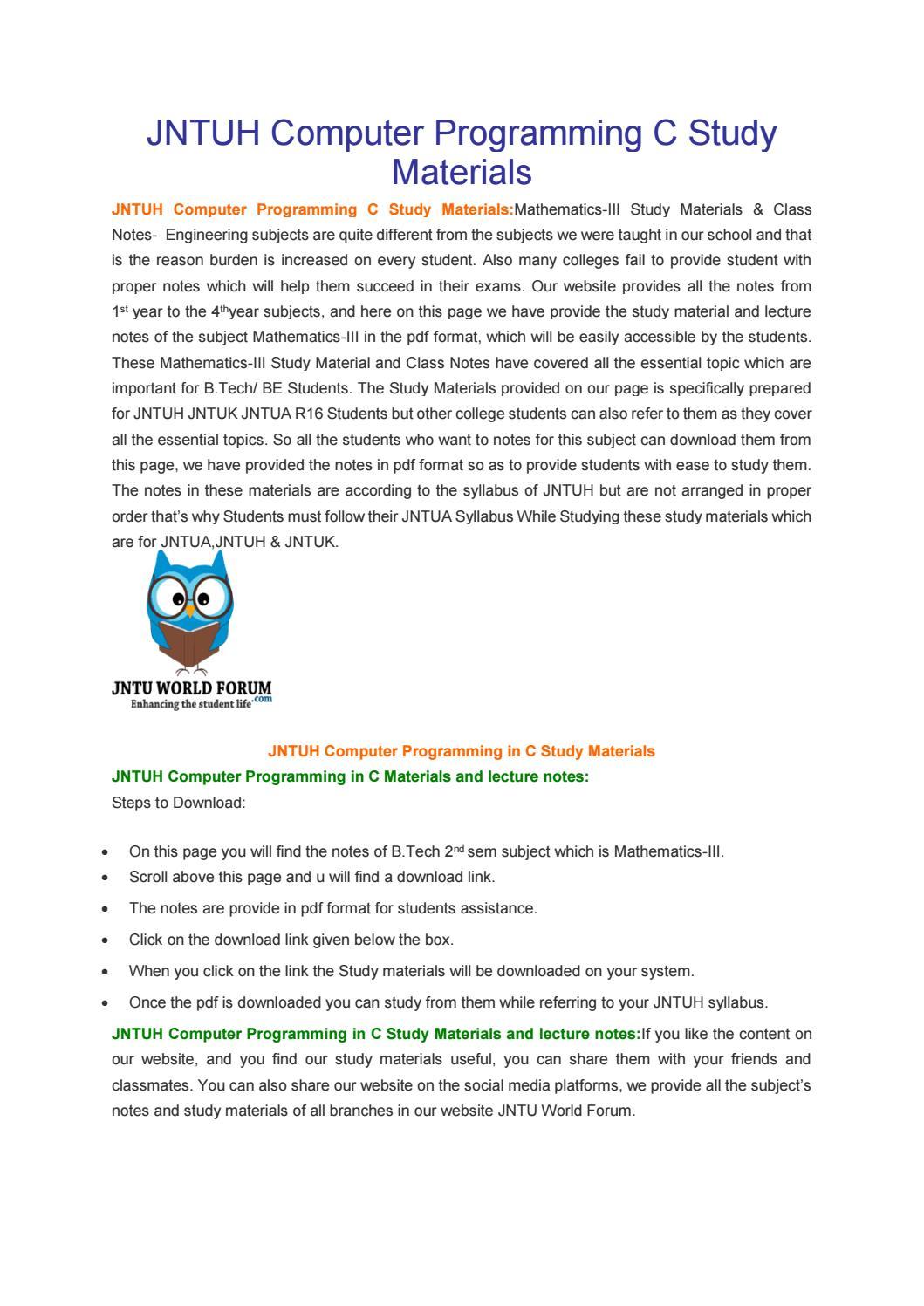 JNTUH Computer Programming C Study Materials by Owlpure - issuu