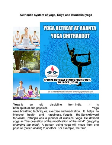 Authentic system of yoga, Kriya and kundalini yoga by Anantayoga - issuu