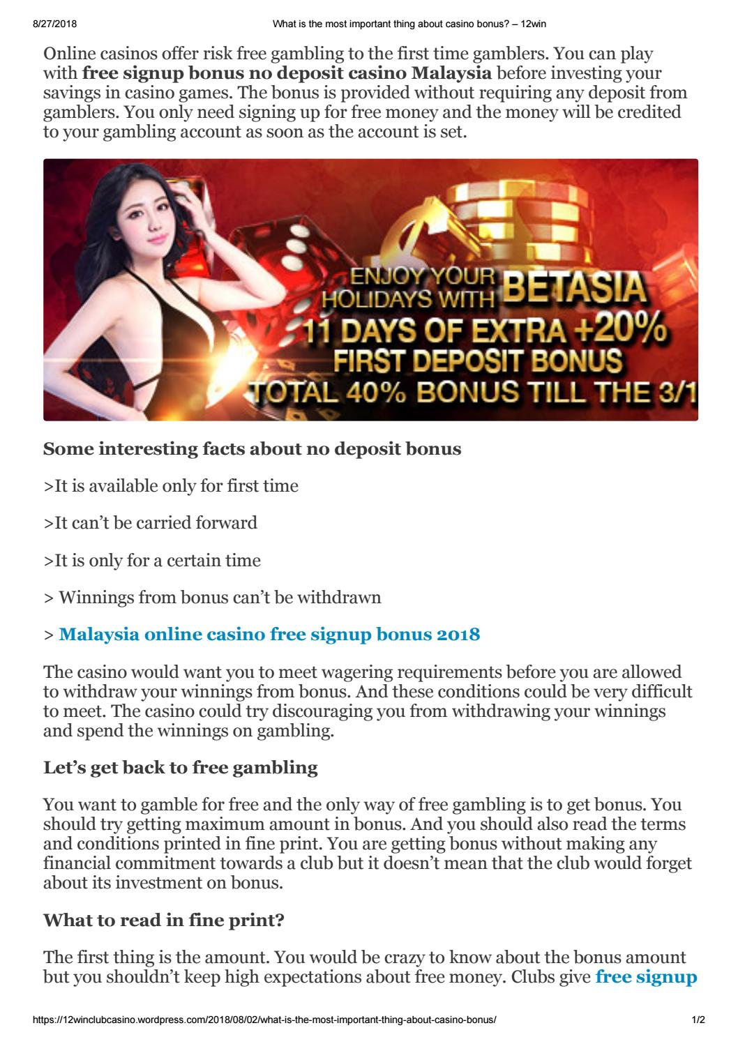 What Is The Most Important Thing About Casino Bonus By 12win Club Issuu