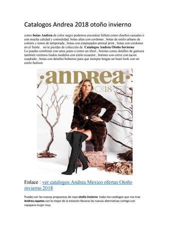 afaad500e6 Catalogos Andrea 2018 otoño invierno como botas Andrea de color negro  podemos encontrar folleto como diseños casuales o con mucha calidad y  comodidad