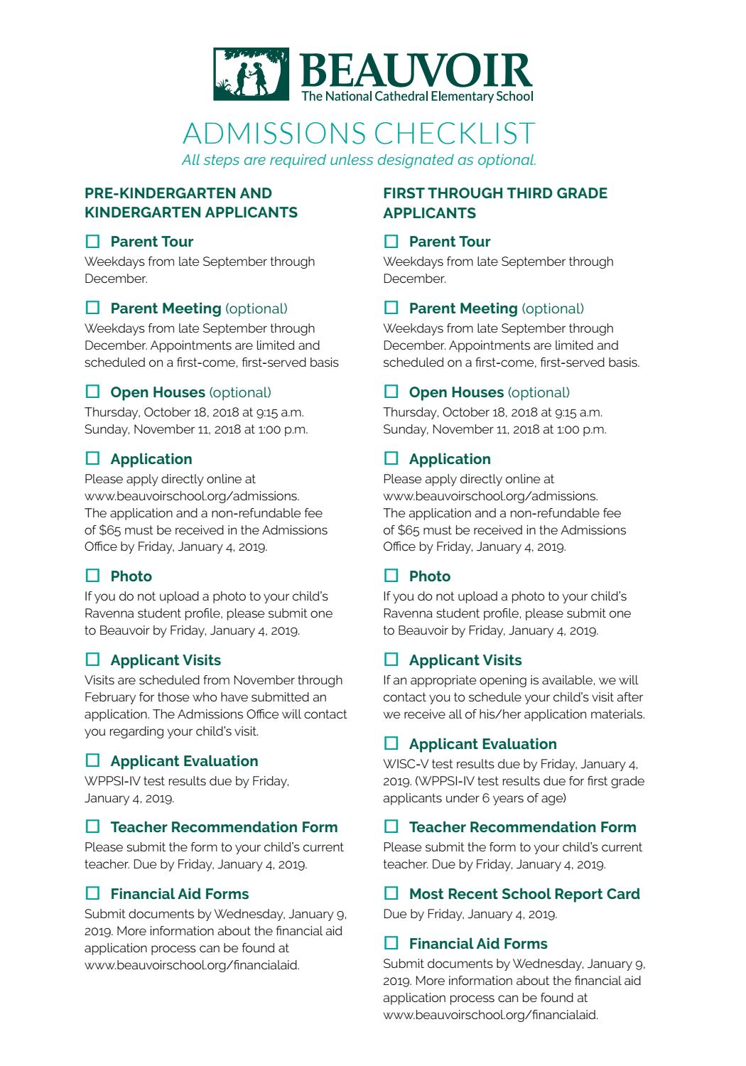 Beauvoir Admissions Checklist 2018-2019 by Beauvoir, The National