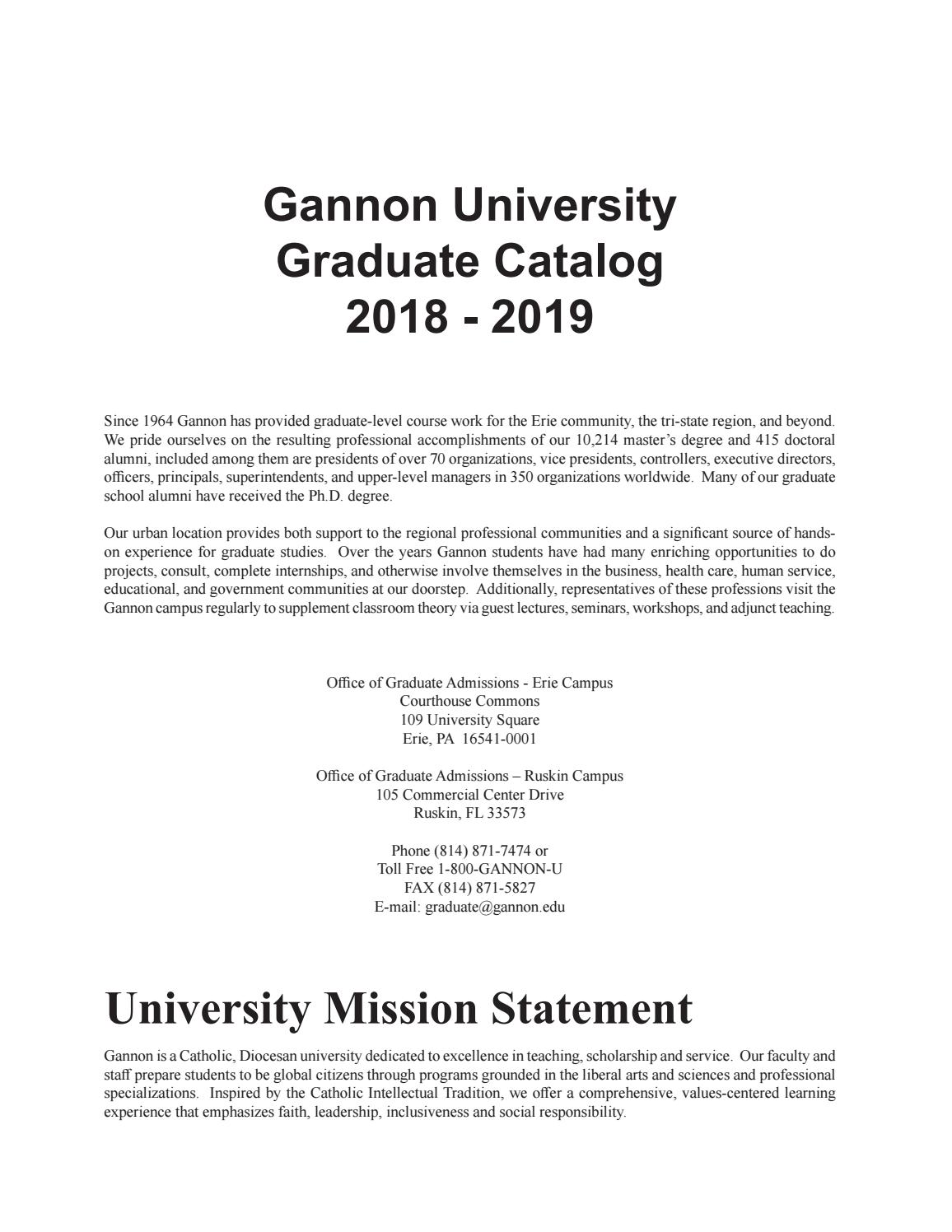 Gannon University Graduate Catalog 2018-2019 by Gannon University