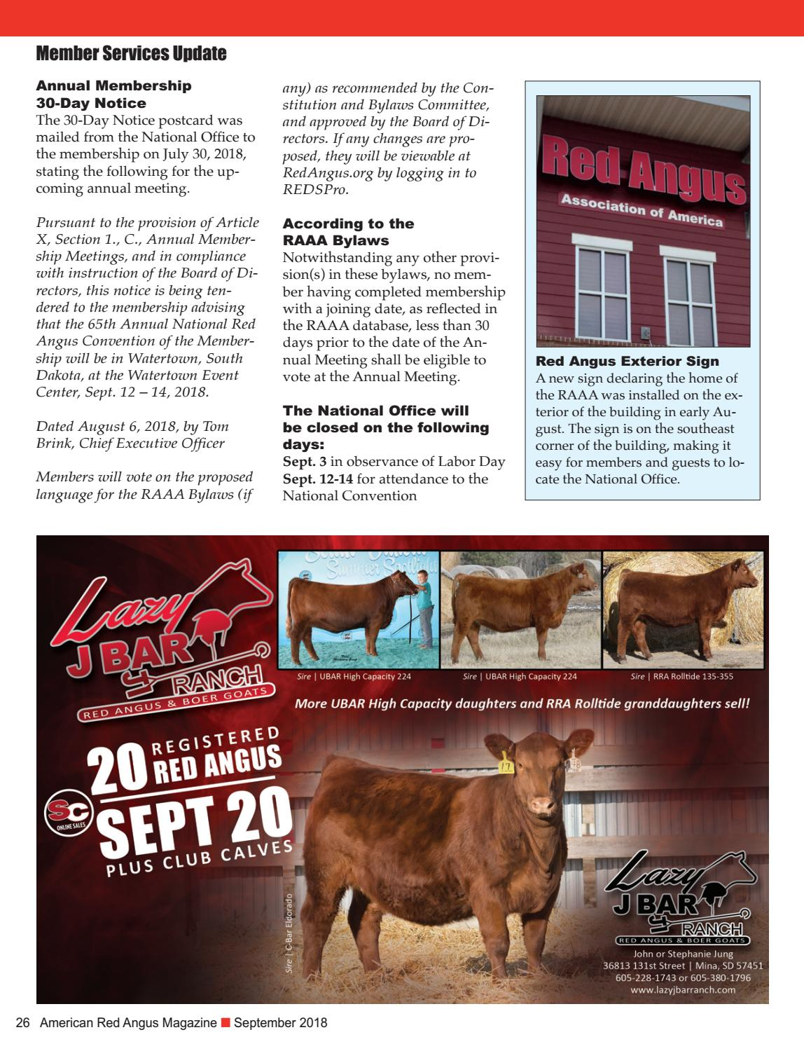 September 2018 - ARA Magazine by Red Angus Association of