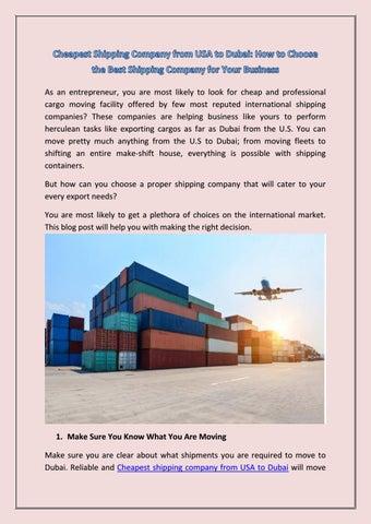 Cheapest shipping company from USA to Dubai by Shiptodubai