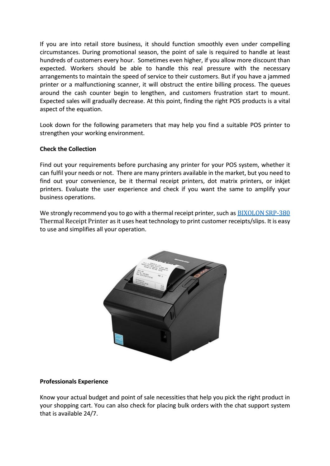 BIXOLON SRP-380 Thermal Receipt Printers – For Business