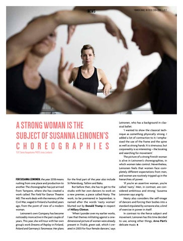 Page 7 of Strong woman is the subject in Susanna Leinonen's choreographies