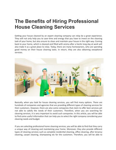 The Benefits of Hiring Professional House Cleaning Services