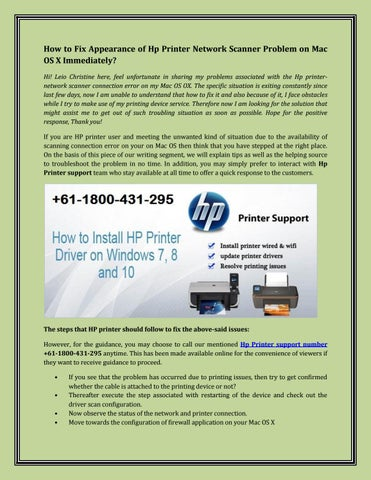 How to Fix Appearance of Hp Printer Network Scanner Problem on Mac