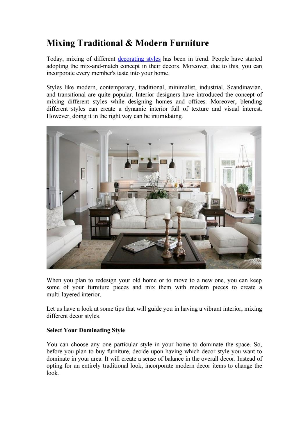 MIXING TRADITIONAL & MODERN FURNITURE by Furniture Store LA ...