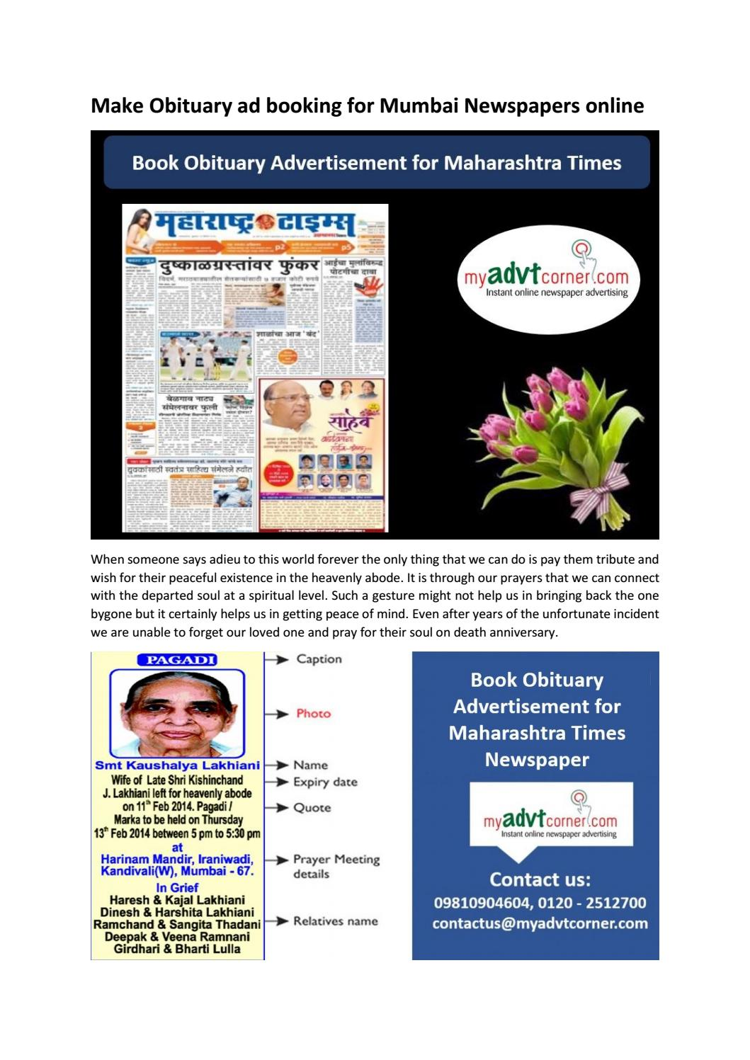 Make Obituary Ad Booking For Mumbai Newspapers Online By