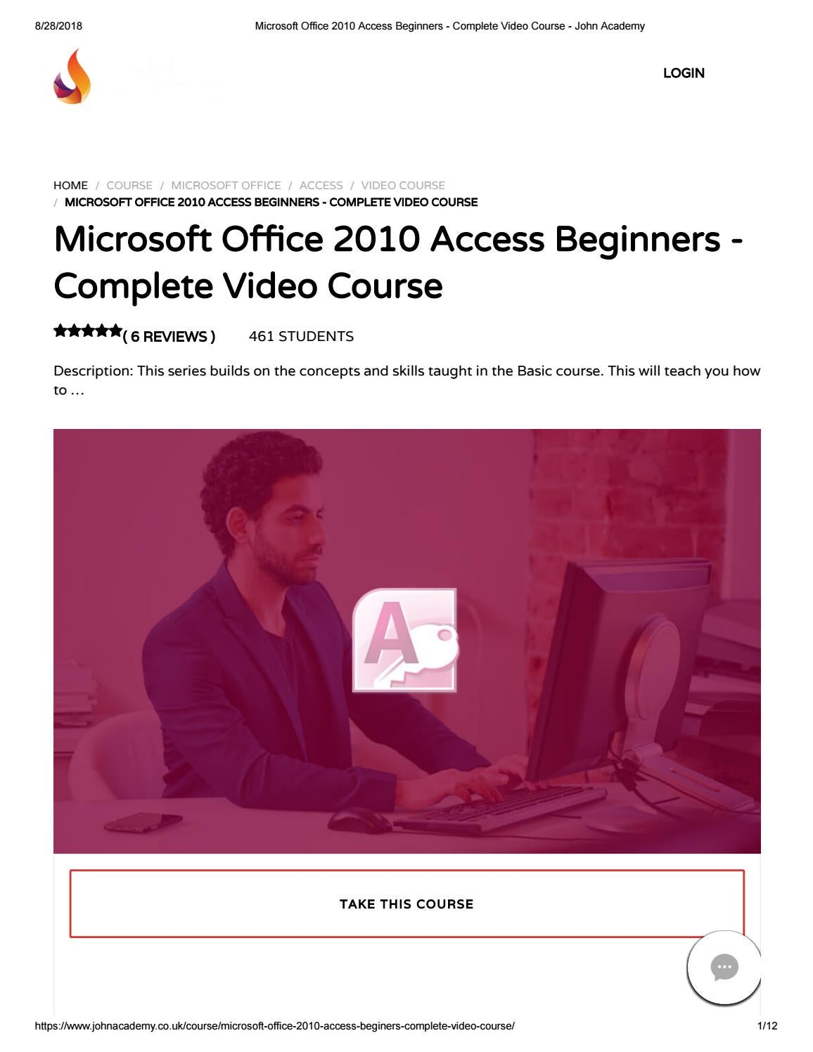 Microsoft Office 2010 Access Beginners - Complete Video
