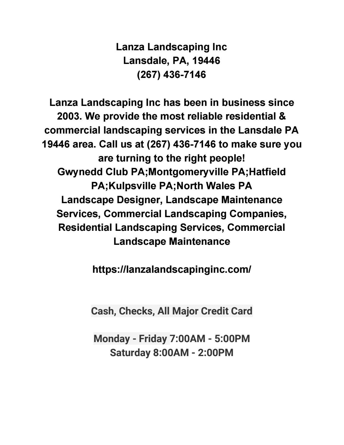 Lanza Landscaping Inc By Lanza Landscaping Inc Issuu