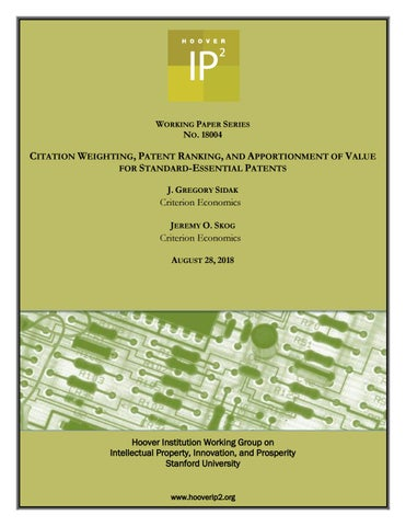 Citation Weighting, Patent Ranking, and Apportionment of