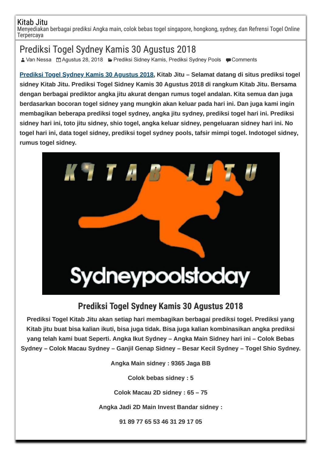 Prediksi Togel Sydney Kamis 30 Agustus 2018 by suma camsom - issuu 1232db4870