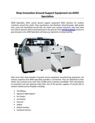 Shop Innovative Ground Support Equipment via AERO