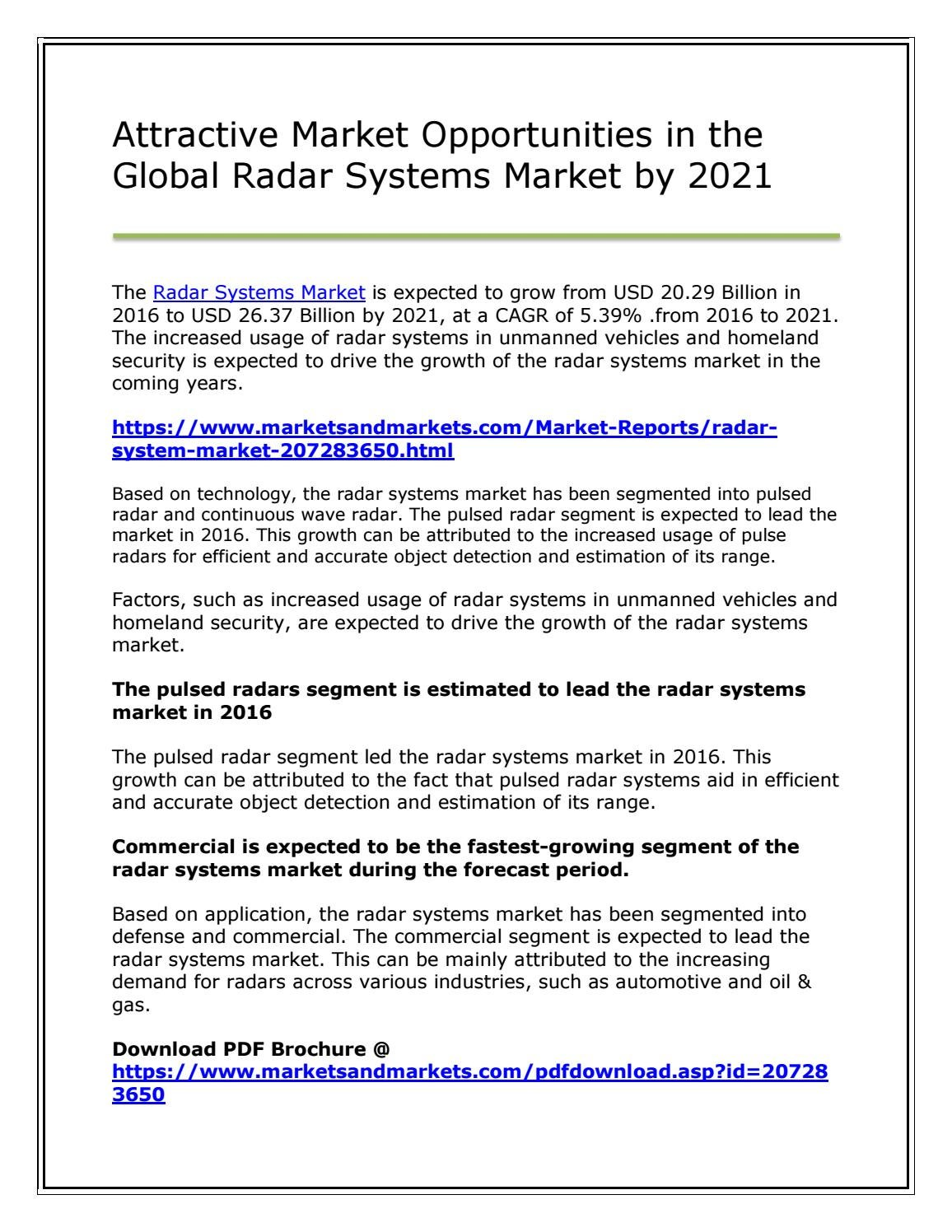 Attractive Market Opportunities in the Global Radar Systems Market