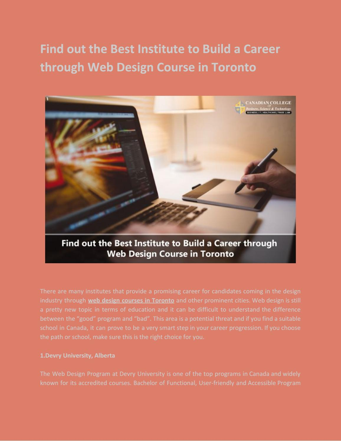 Find Out The Best Institute To Build A Career Through Web Design Course In Toronto By Ccbst College Issuu