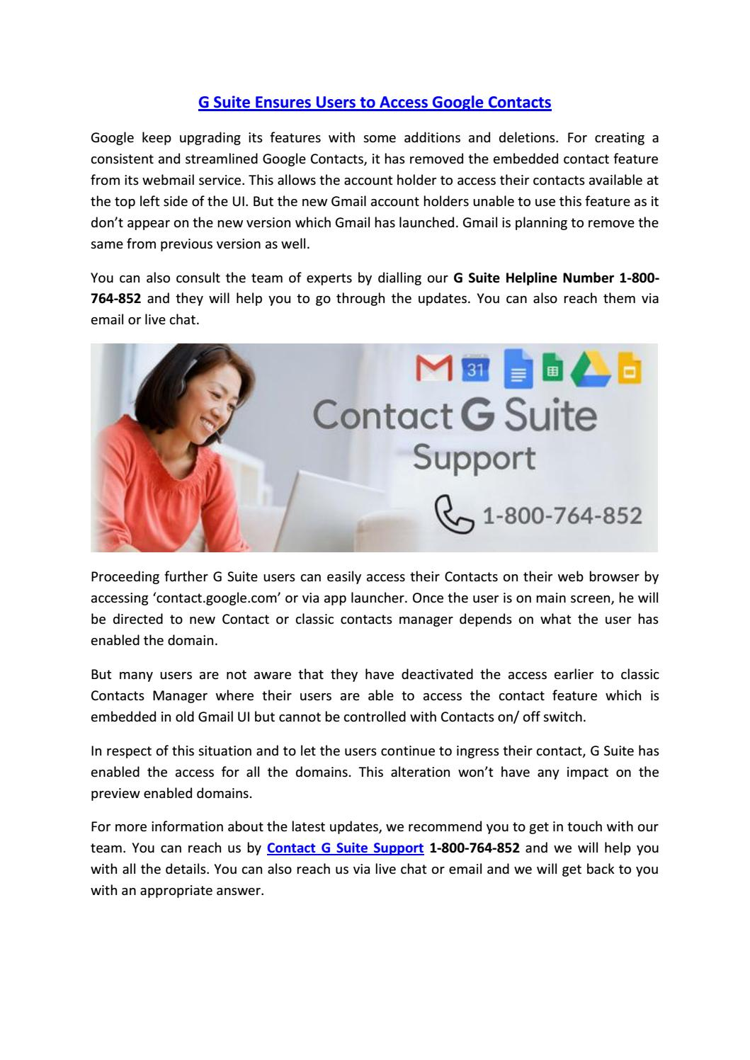 G Suite Ensures Users To Access Google Contacts By Jack Watson Issuu