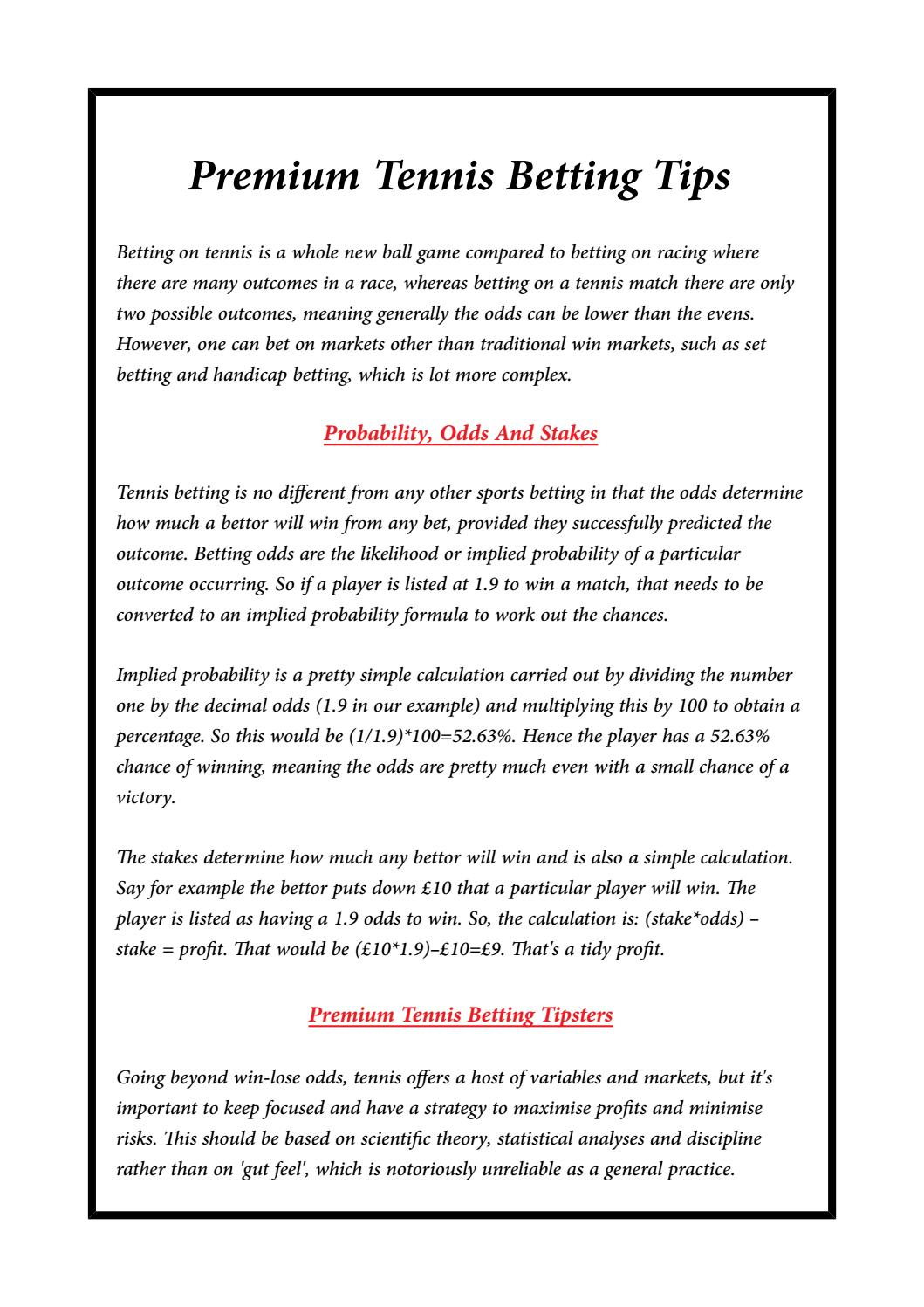 Premium Tennis Betting Tips by GreatBets - issuu