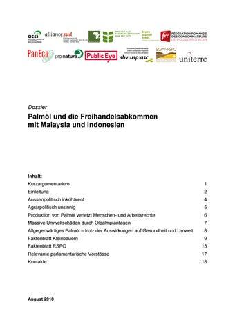 Dossier Palmol Und Die Freihandelsabkommen Mit Malaysia Und