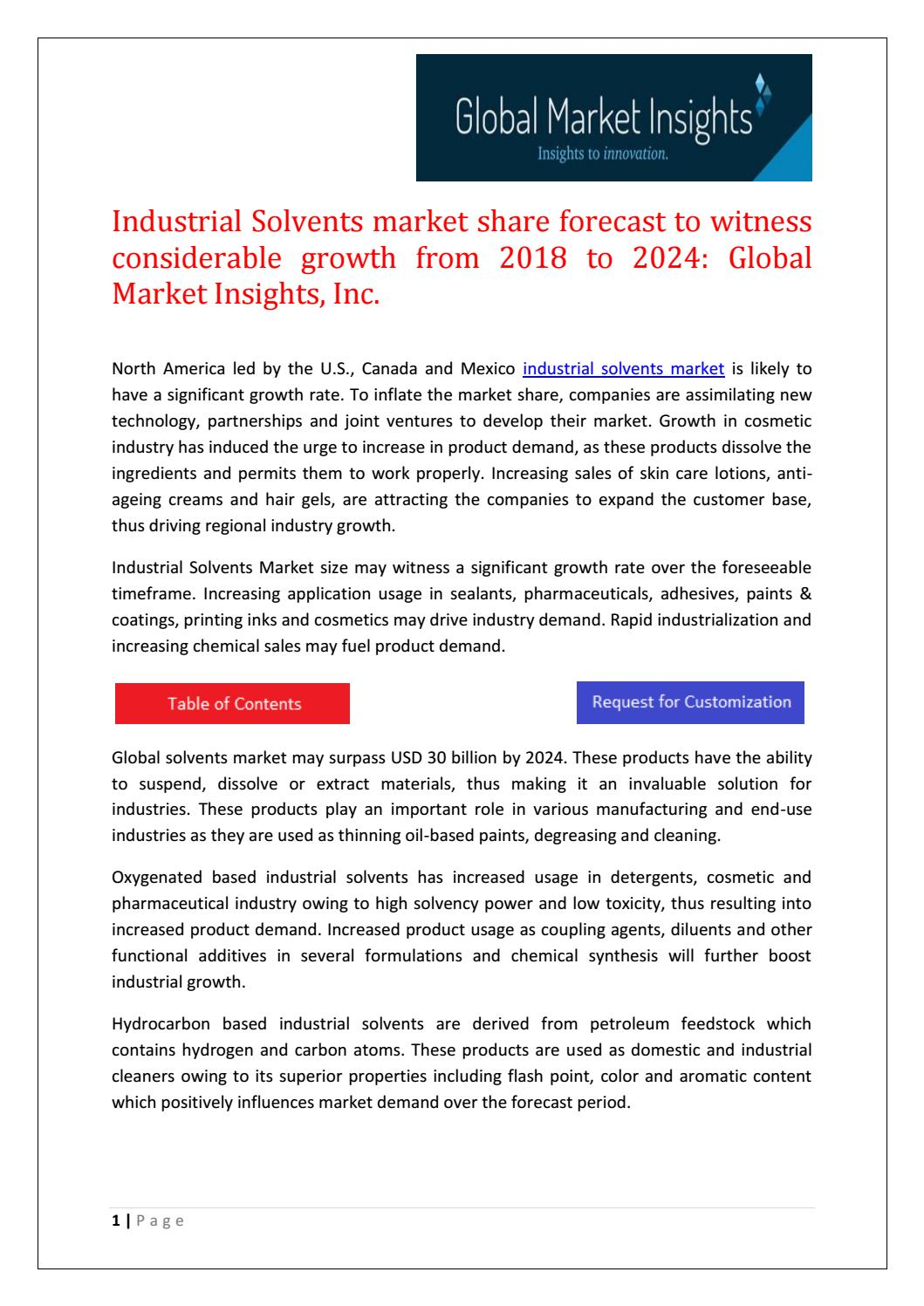 Industrial Solvents Market share forecast to witness