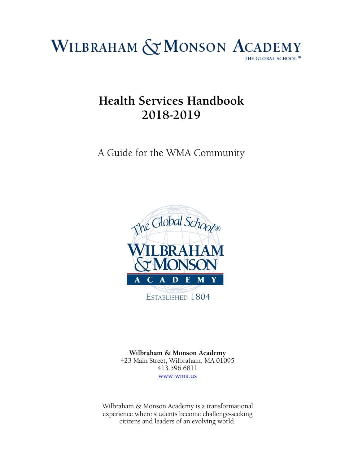 Health Services Handbook 2018 2019 By Wilbraham Monson