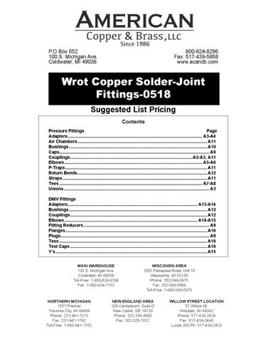 Wrot Copper Solder-Joint Fittings-0518 by American Copper