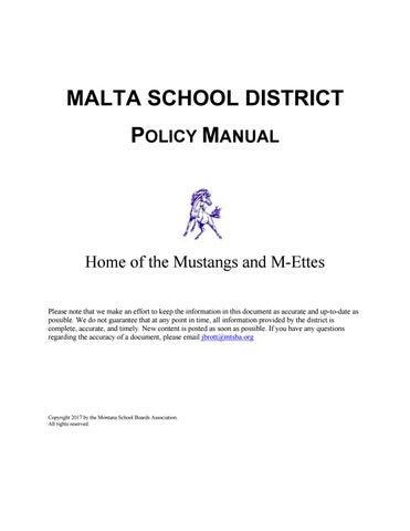 Malta School District Policy Manual by Montana School Boards