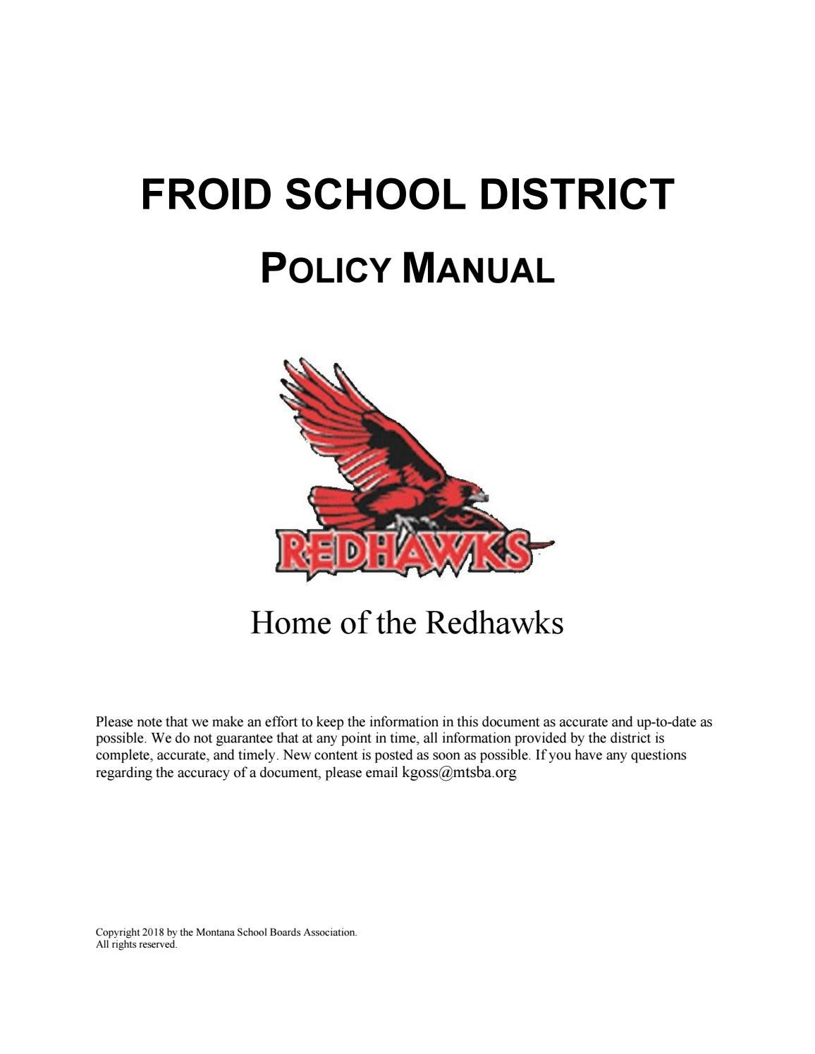 Froid School District Policy Manual by Montana School Boards