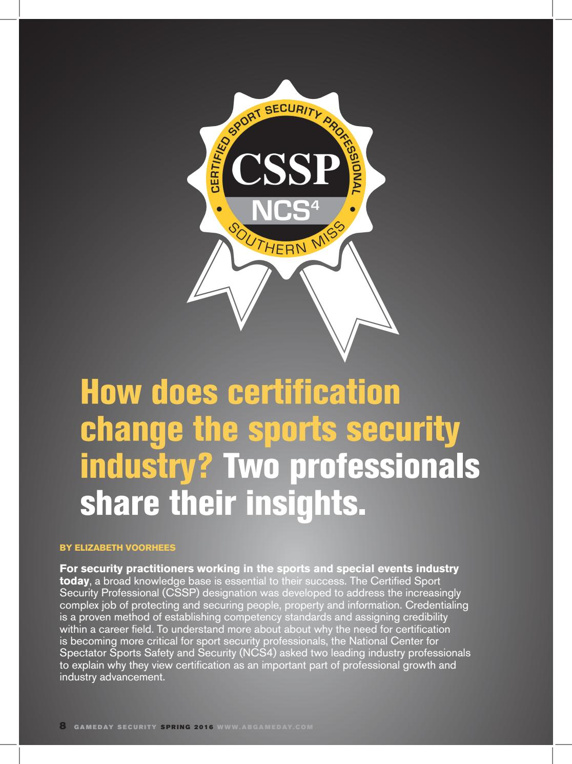 How Does Certification Change The Sports Security Industry By Elli