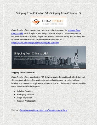 Shipping from China to USA - Shipping from China to US by