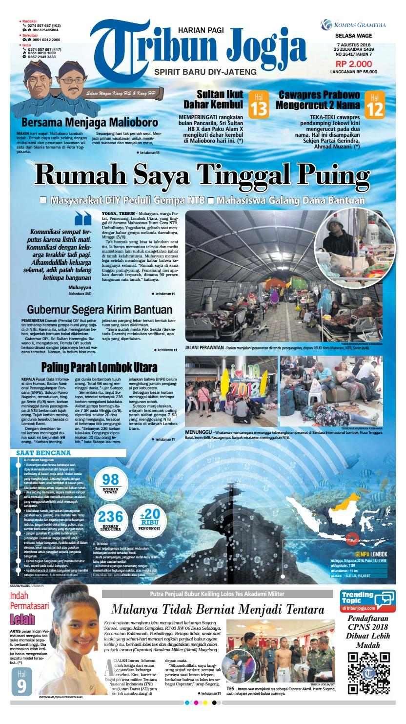 Tribun Jogja 07 08 2018 By Issuu Snack Gayem Pangsit Bantal Imut Bdg