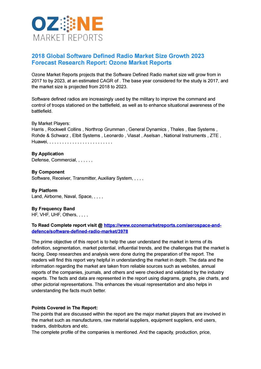 Global Software Defined Radio Market Report 2018   Ozone Market