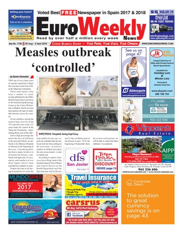 Euro Weekly News - Costa Blanca South 30 August - 5 September 2018 Issue  1730
