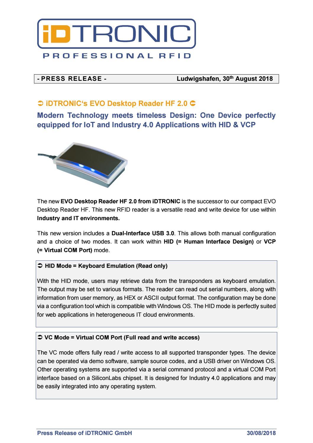 Press Release: iDTRONIC's EVO Desktop Reader HF 2 0 - Modern