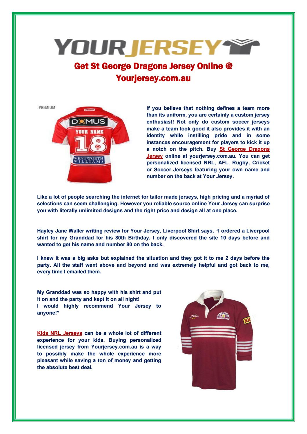 save off 48f35 a55b8 St George Dragons Jersey by yourjersey18 - issuu