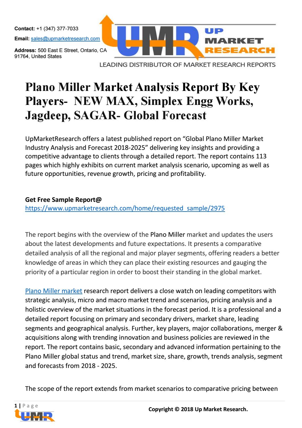 Plano Miller Market Analysis Report By Key Players- NEW MAX