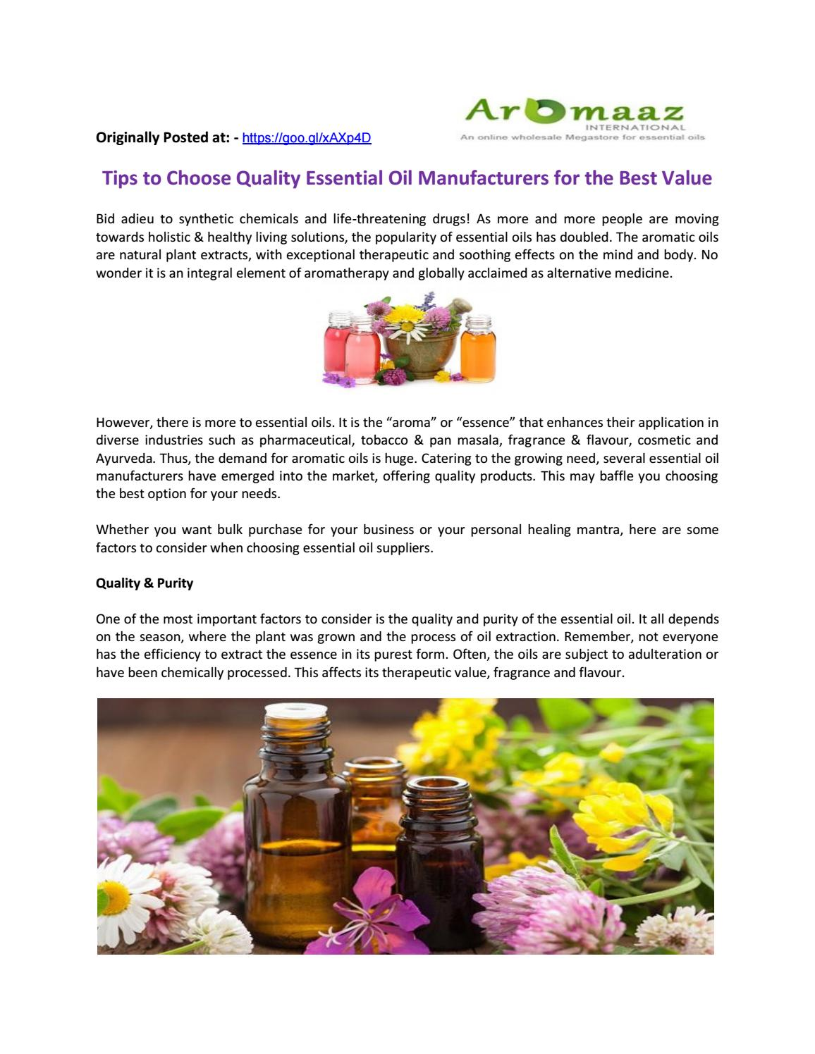 Tips to Choose Quality Essential Oil Manufacturers for the Best